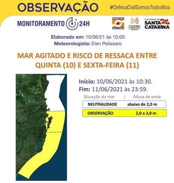 Risco moderado de ressaca e mar agitado deve atingir a Grande Florianópolis e o Litoral Sul – Foto: Defesa Civil/Divulgação