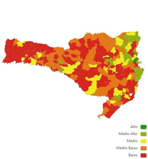 Mapa do IDMS Ambiental de Santa Catarina – Foto: Reprodução/CNM
