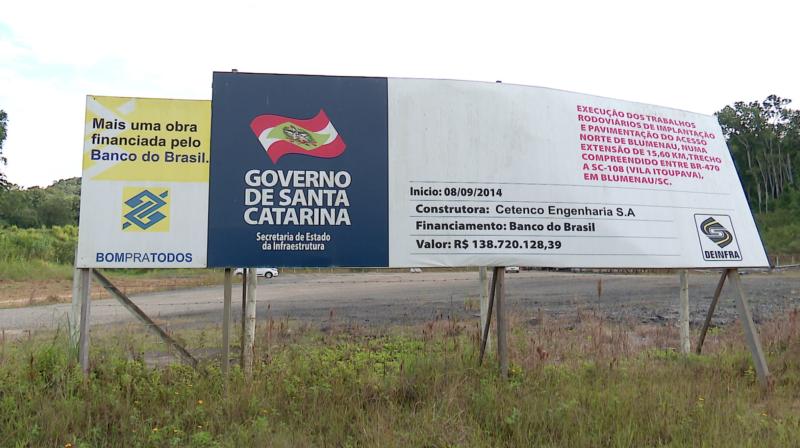 Obras da SC-108 / prolongamento da Via Expressa em Blumenau, paradas após quase quatro anos, devems er retomadas em junho – Foto: Reprodução/NDTV