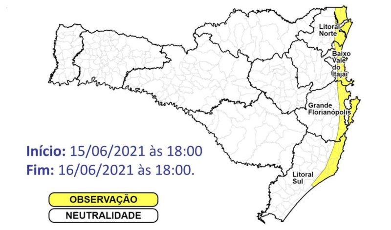 Litoral catarinense apresentará instabilidade nos próximos dias – Foto: Defesa Civil/Divulgação