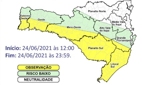 Mapa com previsão para temporais isolados em SC – Foto: Defesa Civil de SC/Divulgação/ND