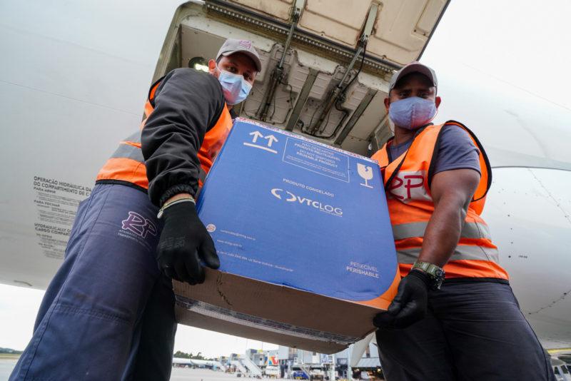 Maior lote de vacinas da Pfizer entregue em SC desembarcou em Florianópolis nesta sexta – Foto: Rircardo Wolffenbuttel/Secom/Divulgação/ND