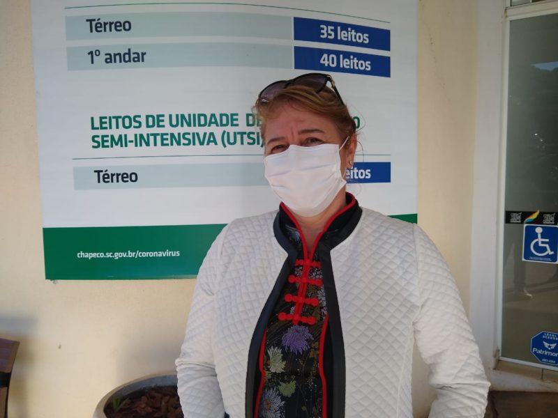 Rosane Collet, de 57 anos, estava na expectativa pela imunização contra a Covid-19 – Foto: Carolina Debiasi/ND