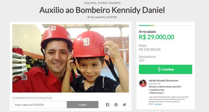 Vaquinha quer arrecadar recursos para ajudar o bombeiro – Foto: Reprodução