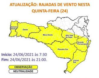Defesa Civil alerta para risco de ocorrências associadas a fortes ventos nas áreas em amarelo do mapa – Foto: Defesa Civil/Divulgação/ND