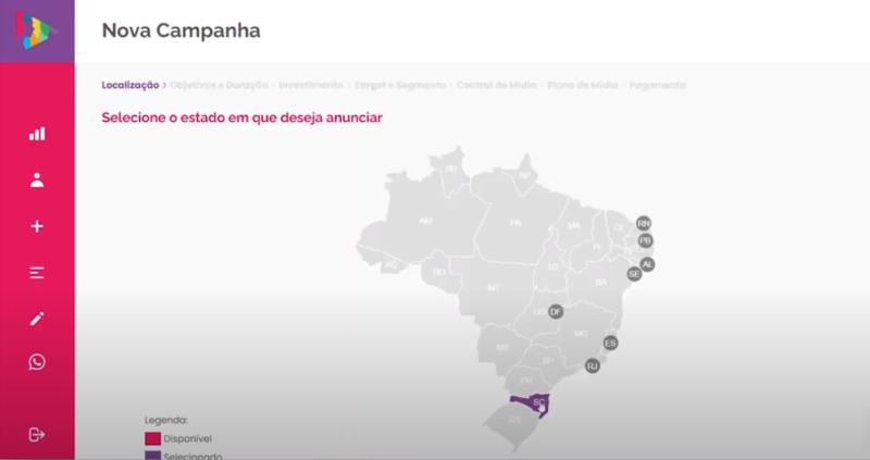 Defina a localização da campanha – Foto: Divulgação/Cimtia Ads