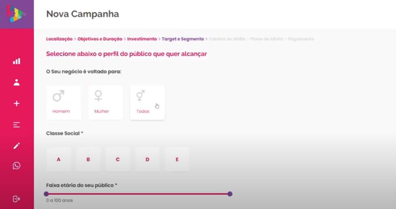 Selecione o perfil do público que você quer alcançar – Foto: Divulgação/Cimtia Ads