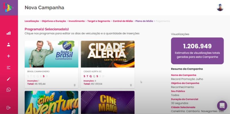 Confira o plano de mídia realizado pela plataforma – Foto: Divulgação/Cimtia Ads