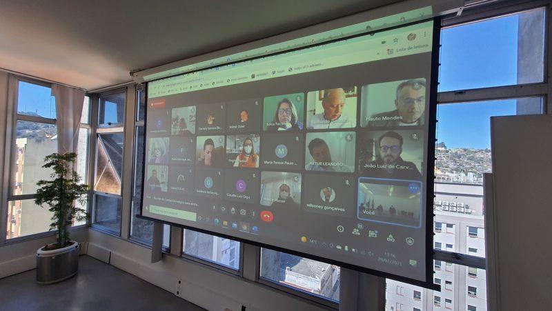 Reunião do comitê de retomada das aulas presenciais aconteceu de maneira virtual – Foto: Divulgação/SED