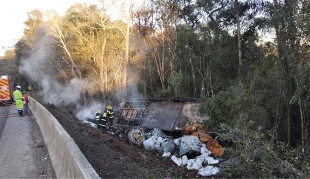 Carreta saiu da pista e começou a pegar fogo na BR-116, em Papanduva - Arteris Planalto Sul/Divulgação