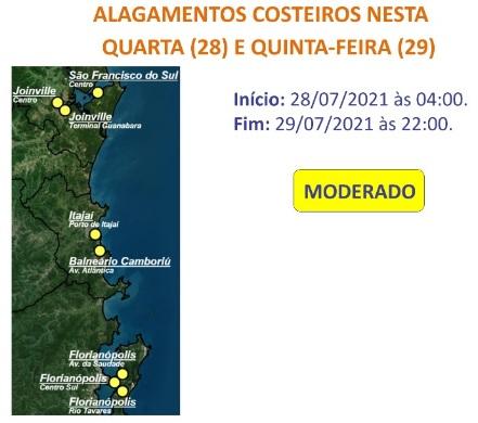 Alagamentos costeiros – Foto: Defesa Civil de SC/Divulgação/ND