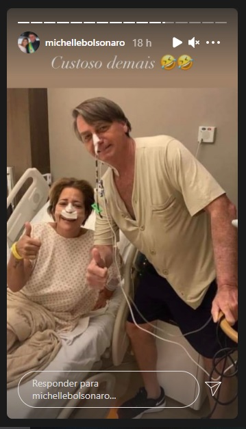 Michelle Bolsonaro publicou nesta quinta-feira (15) uma foto do presidente no hospital onde está internado – Foto: Instagram/Divulgação/ND