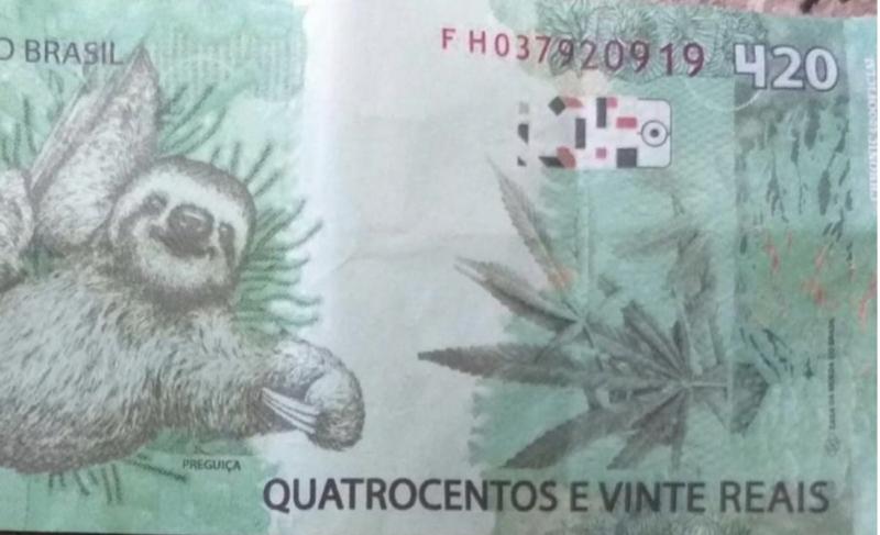 A nota de R$ 420, usada para pagar empréstimo de R$ 100. Teve troco – Foto: Reprodução PM