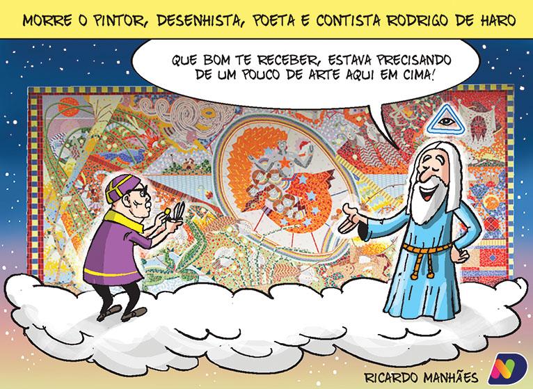 Rodrigo de Haro é o homenageado da charge de Ricardo Manhães, na edição do Jornal ND desta sexta-feira (2)
