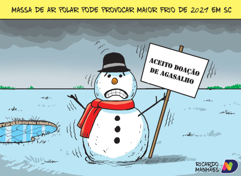 Massa de ar frio é tema da charge do Jornal ND desta segunda (19)