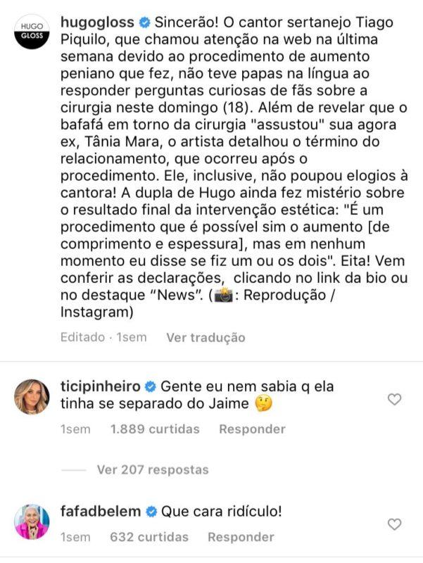 Comentário de Fafá de Belém repercute nas redes e cantor Tiago rebate – Foto: Instagram/Divulgação/ND