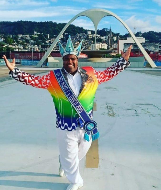 Djferson Mendes da Silva, Rei Momo do Rio de Janeiro 2020/2021 – Foto: Reprodução redes sociais/Divulgação/ND