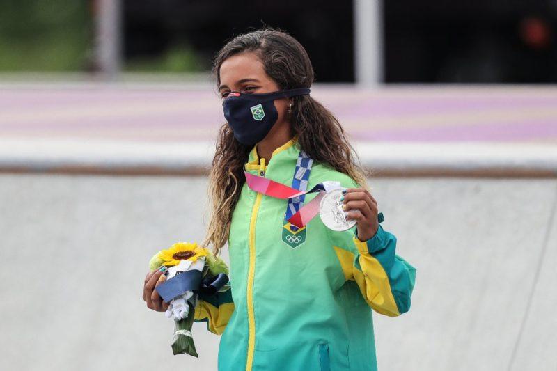 Rayssa Leal, aos 13 anos, se tornou a brasileira mais jovem a subir em um pódio de Olimpíada – Foto: Wander Roberto/COB