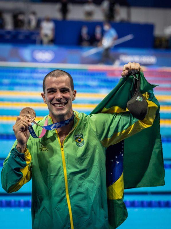 Bruno Fratus conquistou a medalha de bronze no 50m livre. – Foto: COB/divulgação