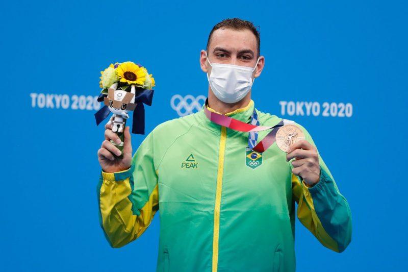 Ricardo Scheffer surpreendeu Tóquio inteira para conquistar o bronze nos 200m livre – Foto: COB/divulgação