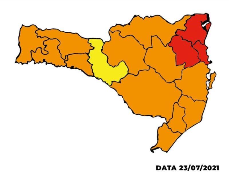 Atualização do Mapa de Risco mostra panorama de melhora na situação da pandemia em SC – Foto: Reprodução/SES