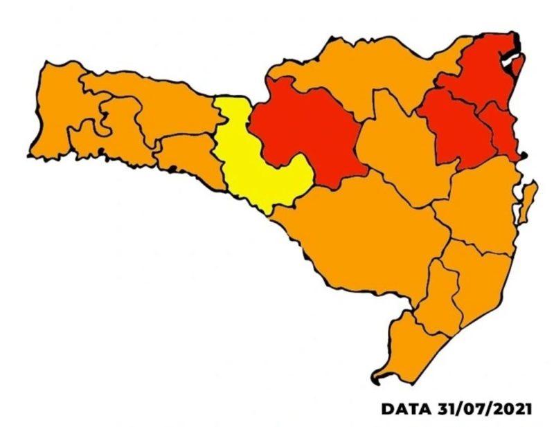 Mapa de risco 31.07.2021 – Foto: Reprodução/SES SC