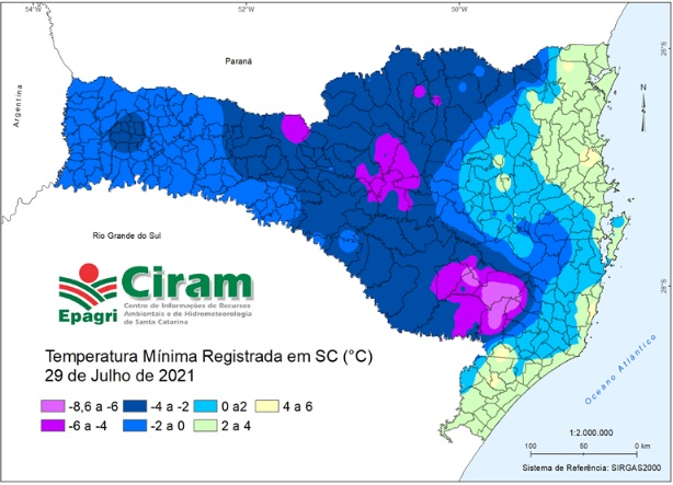 Mapa das temperaturas mínimas registradas ao amanhecer do dia 29/07/2021, em Santa Catarina. – Foto: Maikon Alves/Epagri/Ciram