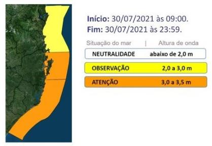 Mapa mostra mar agitado e risco de ressaca – Foto: Defesa Civil de SC/Divulgação/ND