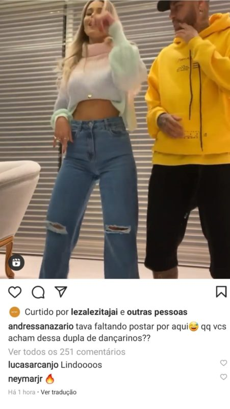 """Depois de dançar com modelo, Neymar deixou um comentário """"quente"""" na publicação da moça – Foto: Reprodução Instagram/ND"""