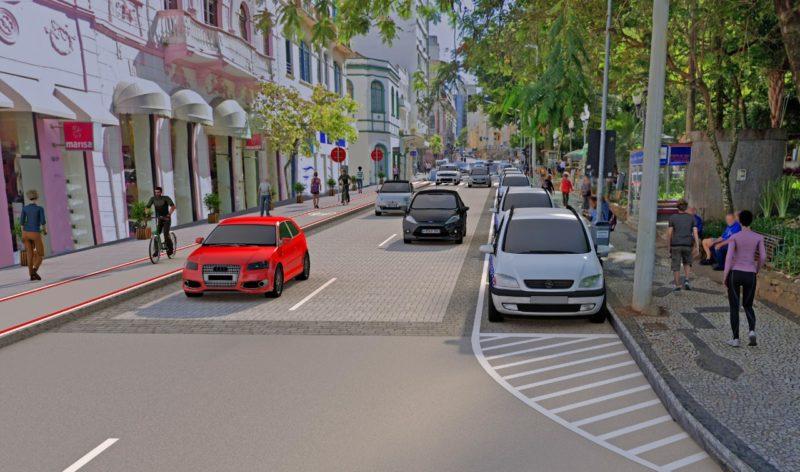 Imagem mostra como vai ficar trecho da rua Arcipreste Paiva, no entorno da Praça 15, em Florianópolis