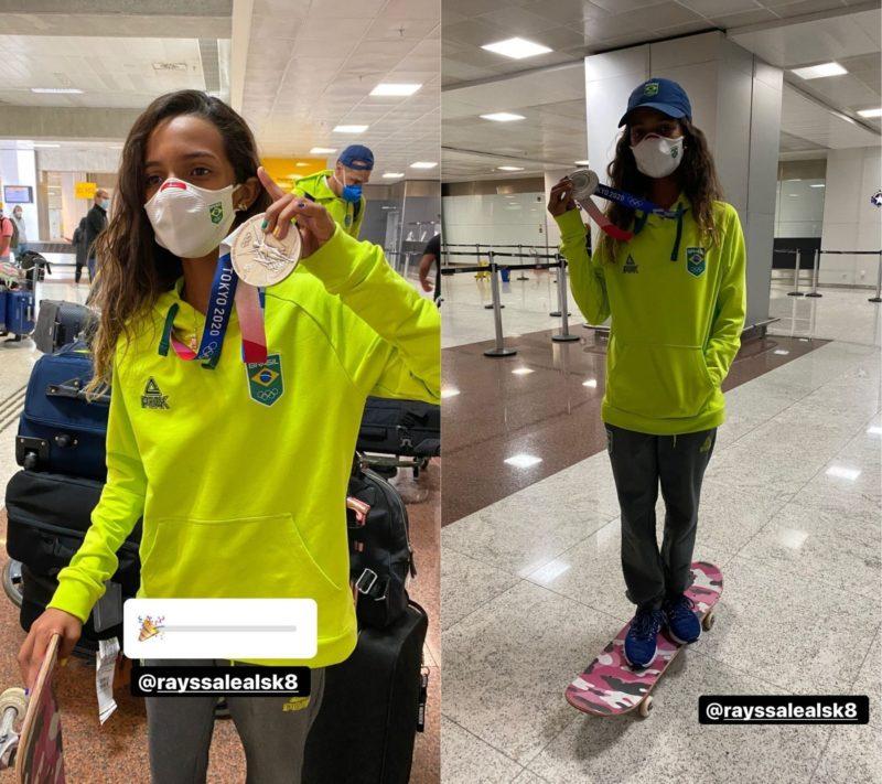 Chegada da medalhista brasileira foi marcada por muita festa – Foto: Reprodução/Instagram