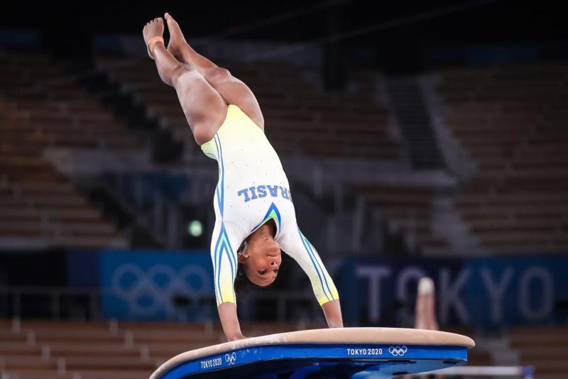 Rebeca também garantiu vaga nas finais do salto – Foto: Gaspar Nóbrega/COB