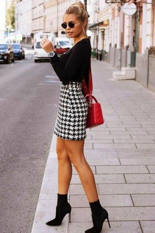 """Saia na estampa """"pied de poule"""". -Reprodução: Pinterest/ND"""
