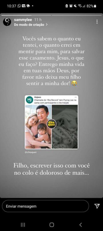Sammy Lee repostou publicação que destaca traição do marido, Pyong Lee – Foto: Reprodução Instagram/ND