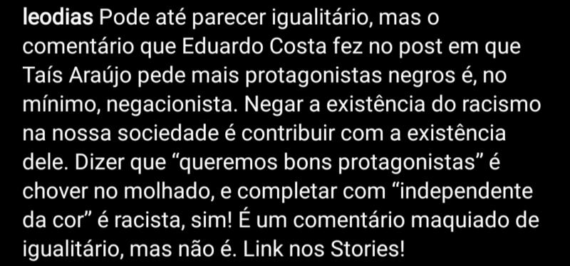 Manifestação de Leo Dias em seu Instagram – Foto: Reprodução/ND
