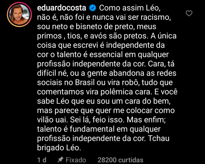 Em comentário, Eduardo Costa rebate o jornalista – Foto: Reprodução/ND