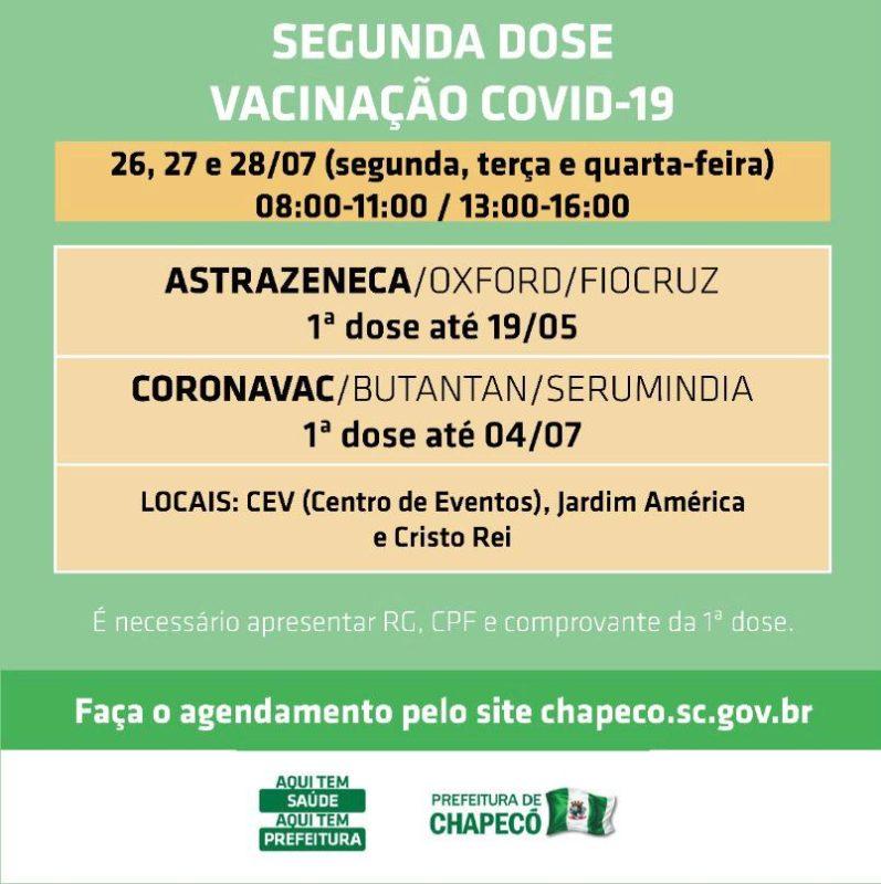 Agendamento para segunda dose da vacina em Chapecó — Foto: Reprodução/ND
