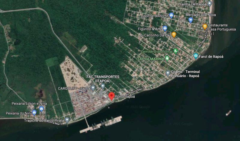 Localização do porto de Itapoá e do novo porto, da Coamo. – Foto: Google Maps/Divulgação ND