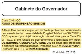Decisão de suspender o Pregão Eletrônico foi publicada no Diário Oficial do Estado no dia 13 de julho – Foto: DOE/Reprodução/ND