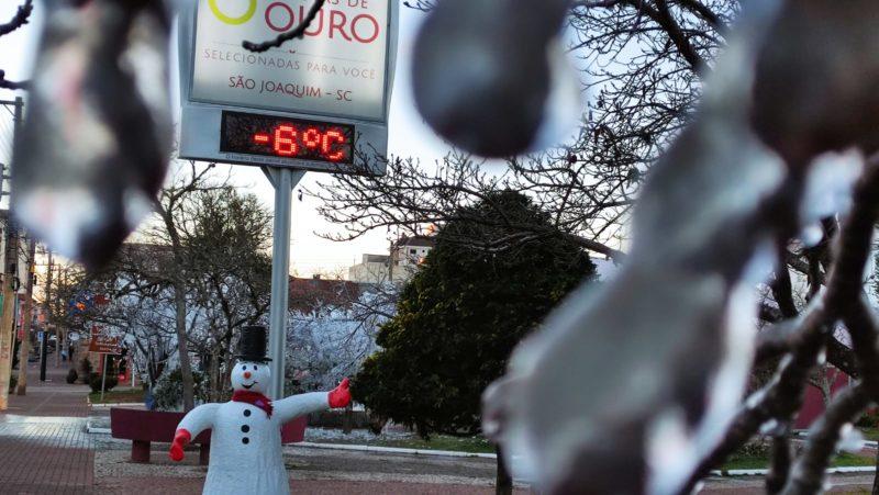 São Joaquim, na Serra catarinense, registrou -6ºC nesta quinta-feira (29) – Foto: Maria Fernanda Salinet/ND