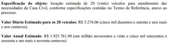 Ampliação da frota de veículos da Casa Civil pode gerar despesa anual de R$ 1.925.761,90 – Foto: Reprodução/ND