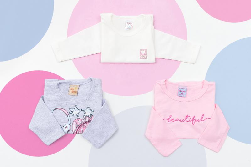 Calças e camisas é uma ótima alternativa para evitar trocar a roupa inteira do bebê – Foto: Divulgação/19ª FIP Baby – A feira do bebê
