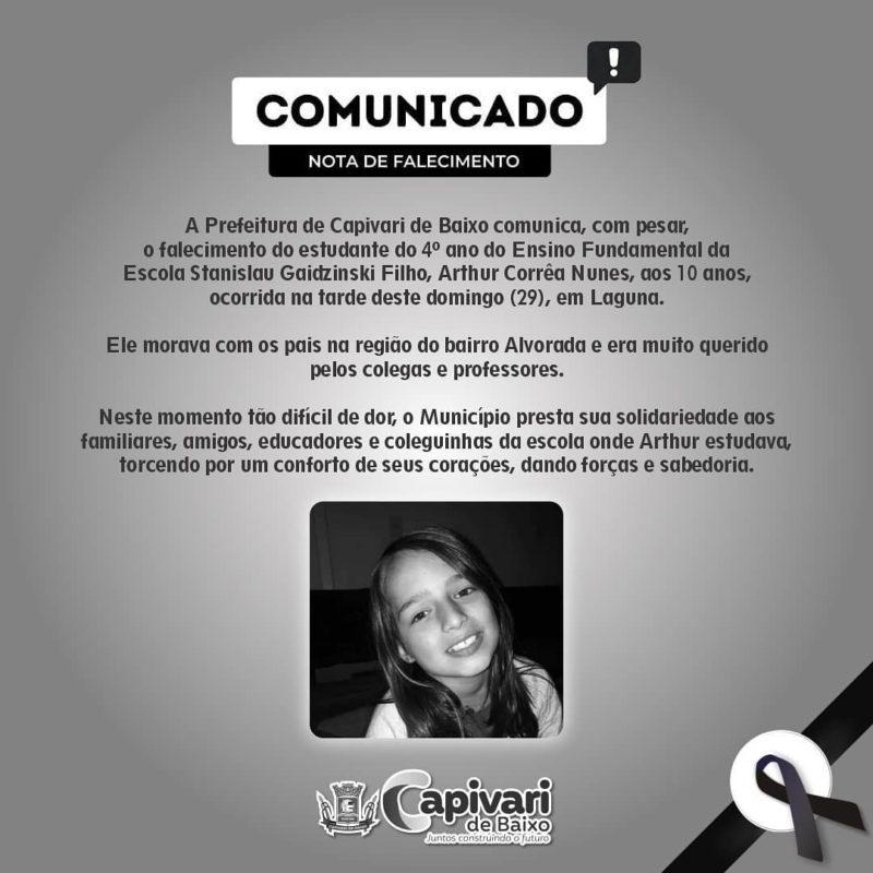 Prefeitura emitiu nota de pesar devido a morte do menino de 10 anos ocorrida em Laguna, no Sul de SC – Foto: Diulgação/Prefeitura de Capivari de Baixo/ND