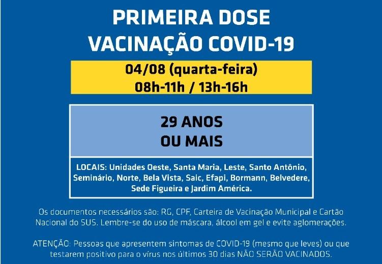 Vacinação amplia para 29 anos em Chapecó – Foto: Prefeitura de Chapecó/ND