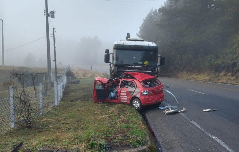 Acidente aconteceu na manhã desta segunda-feira (2), na SC-418 – Foto: Campo Alegre Notícias/Divulgação