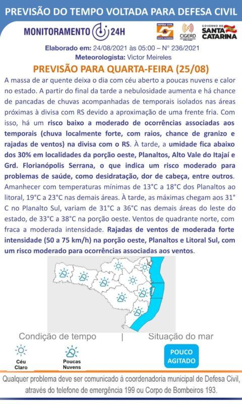 Tempo muda entre a noite de quarta e a madrugada de quinta em SC – Foto: Defesa Civil/Divulgação
