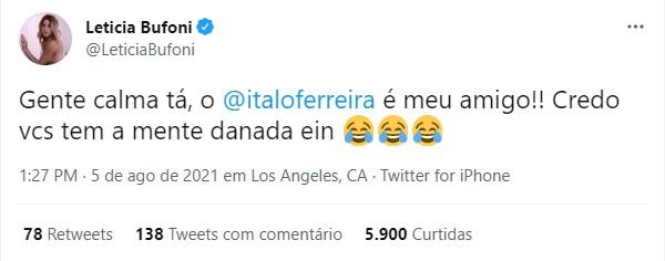 Letícia Bufoni joga panos quentes em insinuações sobre possível affair com Ítalo Ferreira – Foto: Reprodução/Twitter