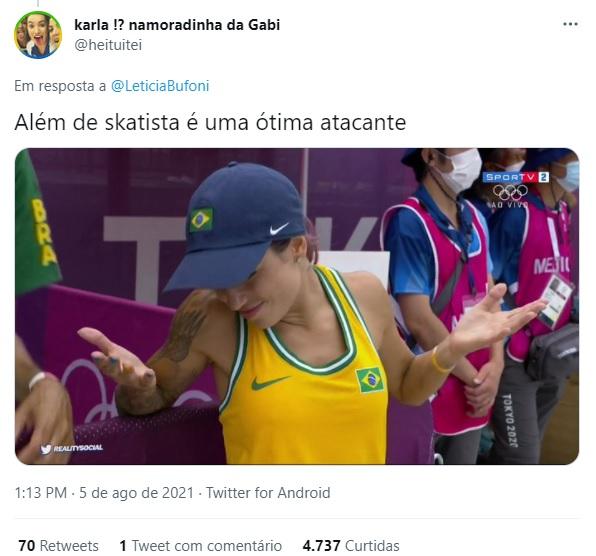 Internauta brinca com possível flerte entre Letícia Bufoni e Ítalo Ferreira – Foto: Reprodução/Twitter
