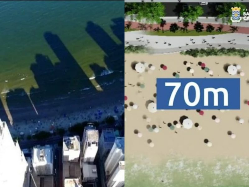 Prefeito explica se alargamento da faixa de areia vai resolver sombreamento da praia – Foto: Reprodução