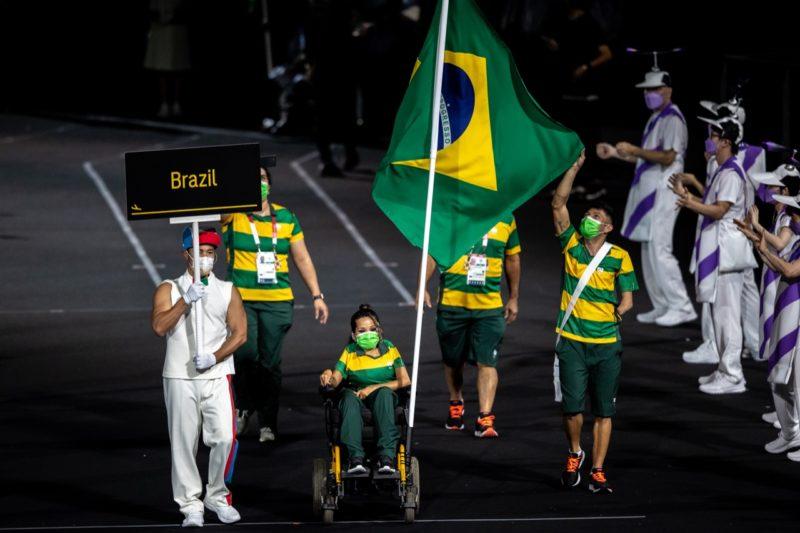 Atletas brasileiras durante a cerimônia de abertura dos jogos – Foto: Miriam Jeske/CPB
